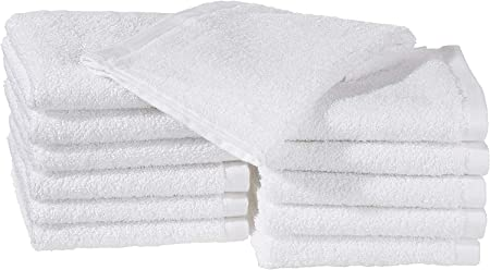 AmazonBasics - Paños de algodón (30,5 x 30,5 cm), pack de 12 - Blanco: Amazon.es: Hogar