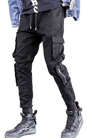 a879a9905873 MOKEWEN Men's Multi Cargo Zipper Pocket Tactics Jogger Harem Pants with  Elastic Waist W32-33