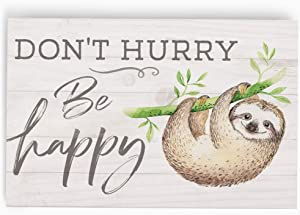 P. Graham Dunn Don't Hurry Be Happy Cream 5 x 3.5 Pine Wood Decorative Tabletop Word Block Plaque