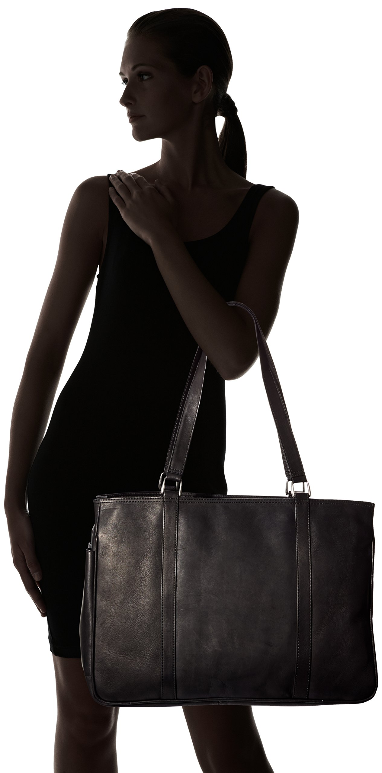 Piel Leather Large Shopping Bag, Black, One Size by Piel Leather (Image #6)
