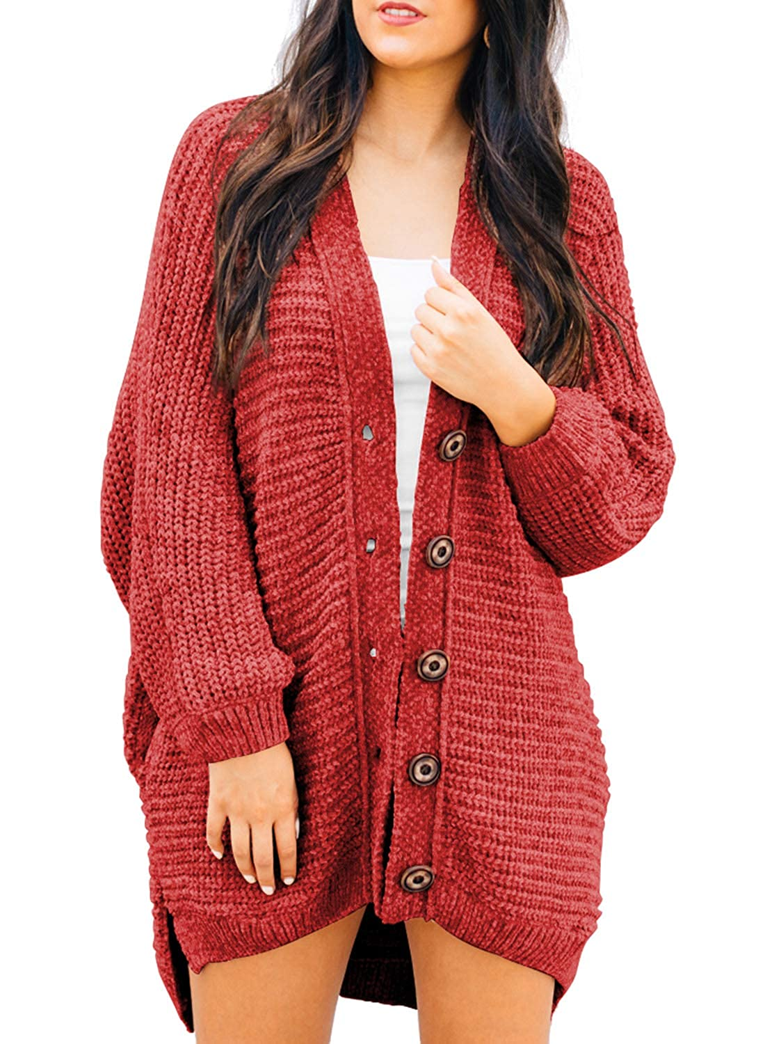 Sidefeel Women Button Down Sweater Coat Casual Open Front