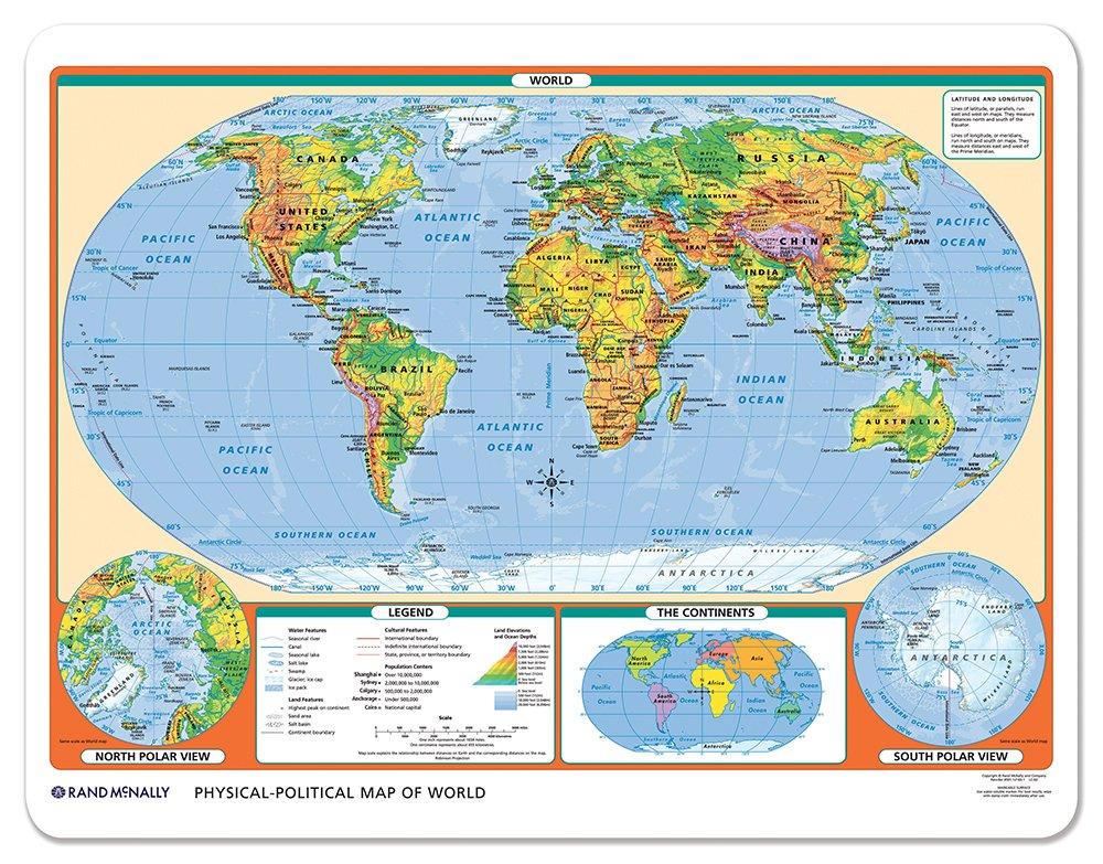 Rand Mcnally Physical Political U S World Desk Map Rand Mcnally