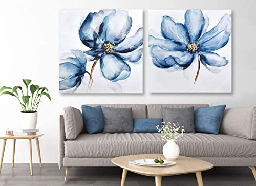 Framed Canvas Wall Art for Home Decoration, 2 Panels Navy Blue Poppies Oil Paintings, 3D Hand Painted Modern Floral Pictures for Living Room Bedroom Stretched Ready to Hang 56x28Inch