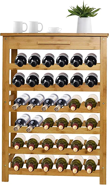 Kinbor 6 Tier Bamboo Wine Rack With Drawer Standing Storage Rack With 36 Bottles Holder For Bar Wine Cellar Basement Cabinet Pantry Kitchen Home Kitchen