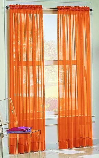 Dreamkingdom   Solid Orange Sheer Curtains/Drape/Panels/Treatment  58u0026quot;x84u0026quot;
