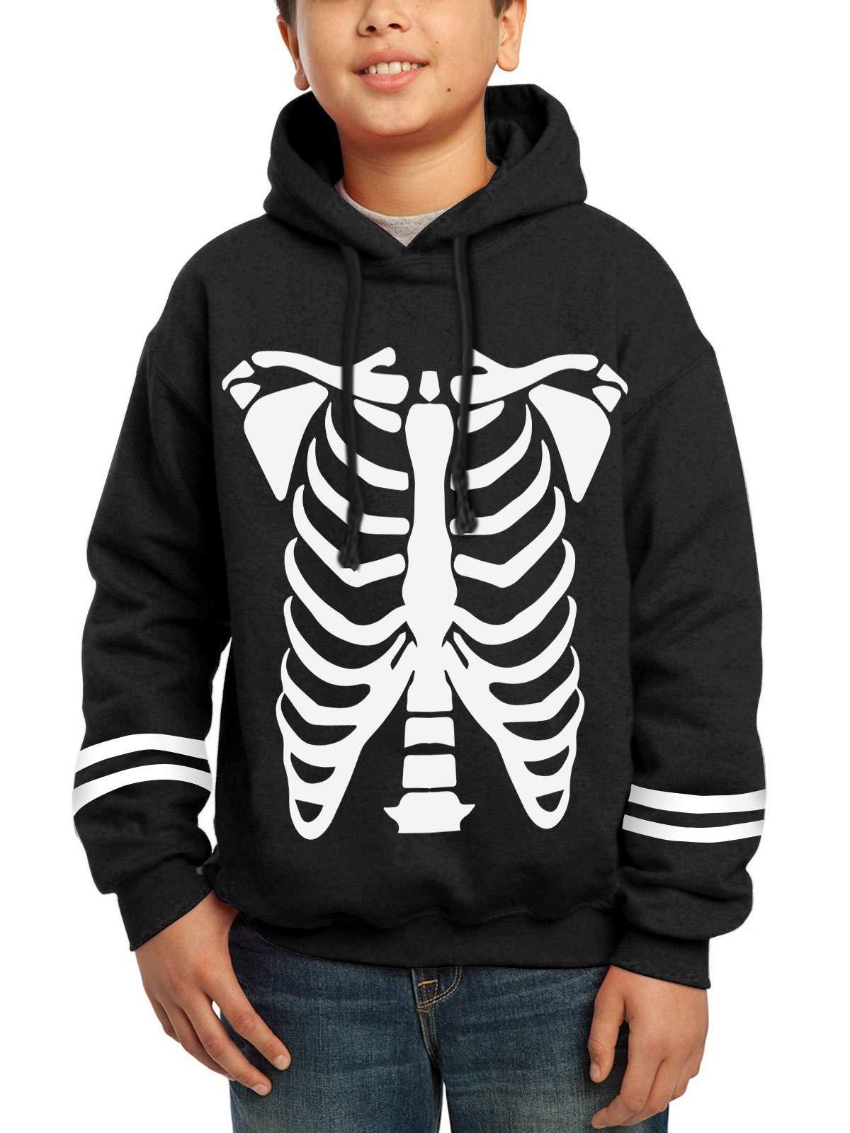 BesserBay Unisex Kid's Halloween Long Sleeve Hoodies Graphic Skeleton Printing Sweatshirts Black Pullover Tops 2-4T
