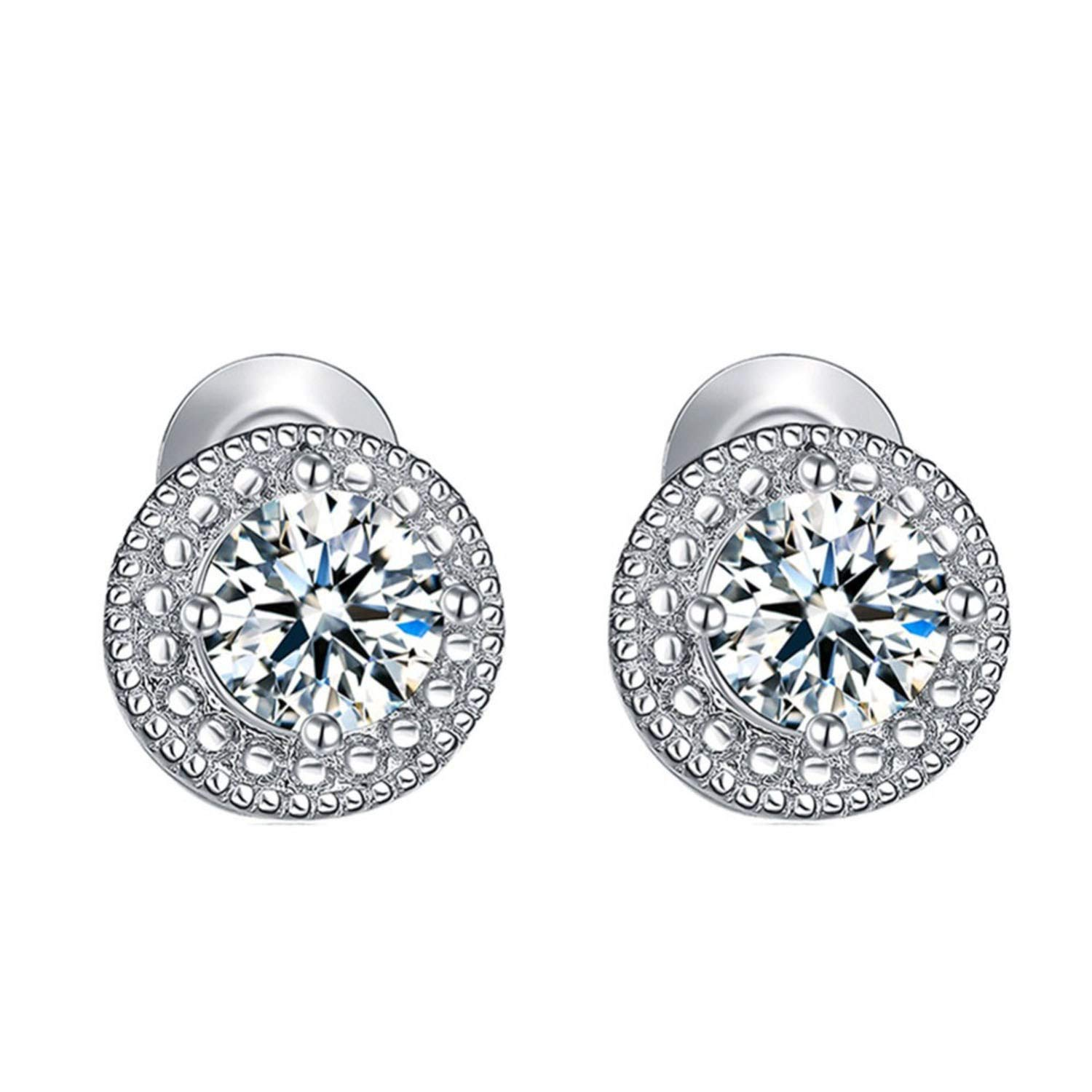 Get-in White Gold Color Micro Round Crystal Stud Earrings for Women Jewelry