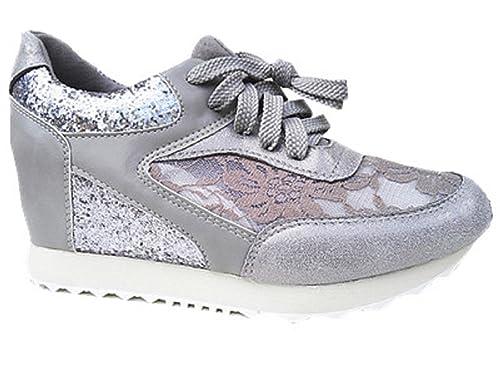 fashionfolie Sneaker Donna Grigio Grigio vM9E3N1t