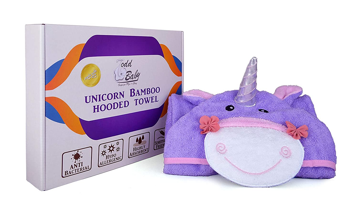 Shower Registry Gift Todd Baby Soft Anti Bacterial Unicorn Bamboo Cotton Hooded Bath Towel White Highly Absorbent
