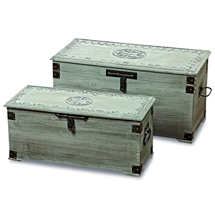 The Americana Steamer Trunks, Blanket Chests, Storage Boxes, Set Of 2,  Medallion