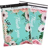 RUSPEPA 14.5x19 Inch Poly Mailers Shipping Bags Thank You Notes Flowers Surrounded Teal Poly Mailers 3 Mil Heavy Duty Self Se