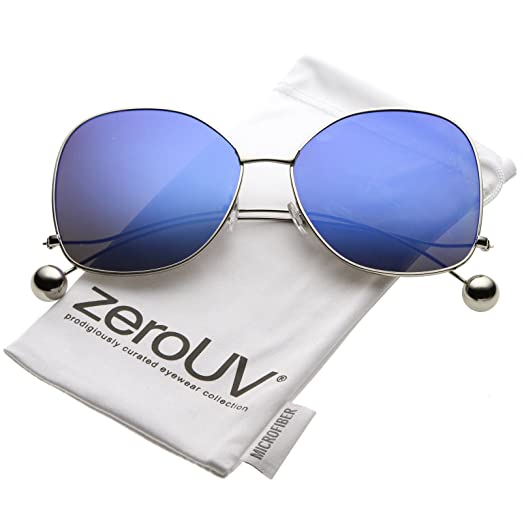 5a37475f24e zeroUV - Women s Thin Curved Metal Arms Ball Mirror Flat Lens Butterfly  Sunglasses 63mm (Silver