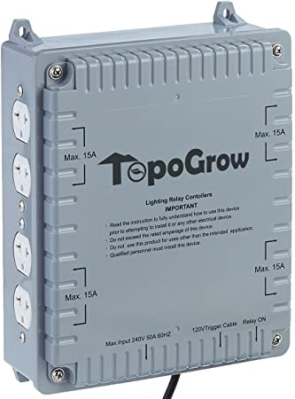 TopoLite 8-Light Controller with Trigger Cord, 8 Lighting Relay Controller, 120/240 Volt, Light Controller for Indoor Plant Grow Light Hydroponics Growing System (Light Controller 8 Outlet)