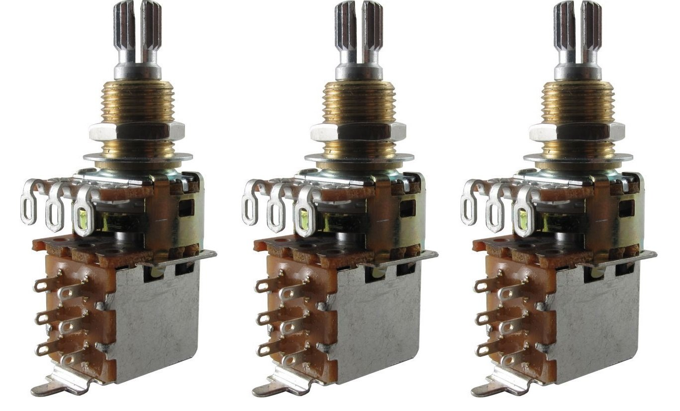 Bourns 500K SHORT Split Shaft Audio Taper Push Pull (DPDT) Potentiometers - Set of Three (3X)