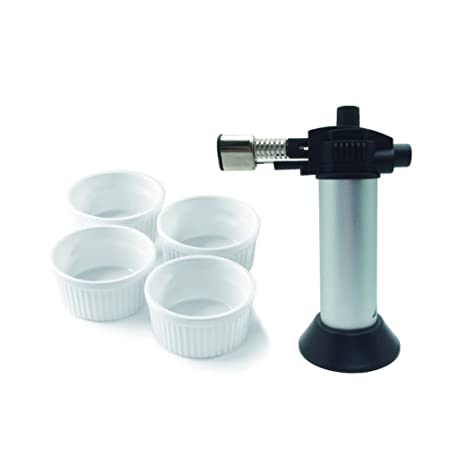 A-ONE Creme Brulee Torch Set with 4 White Round Ramekins