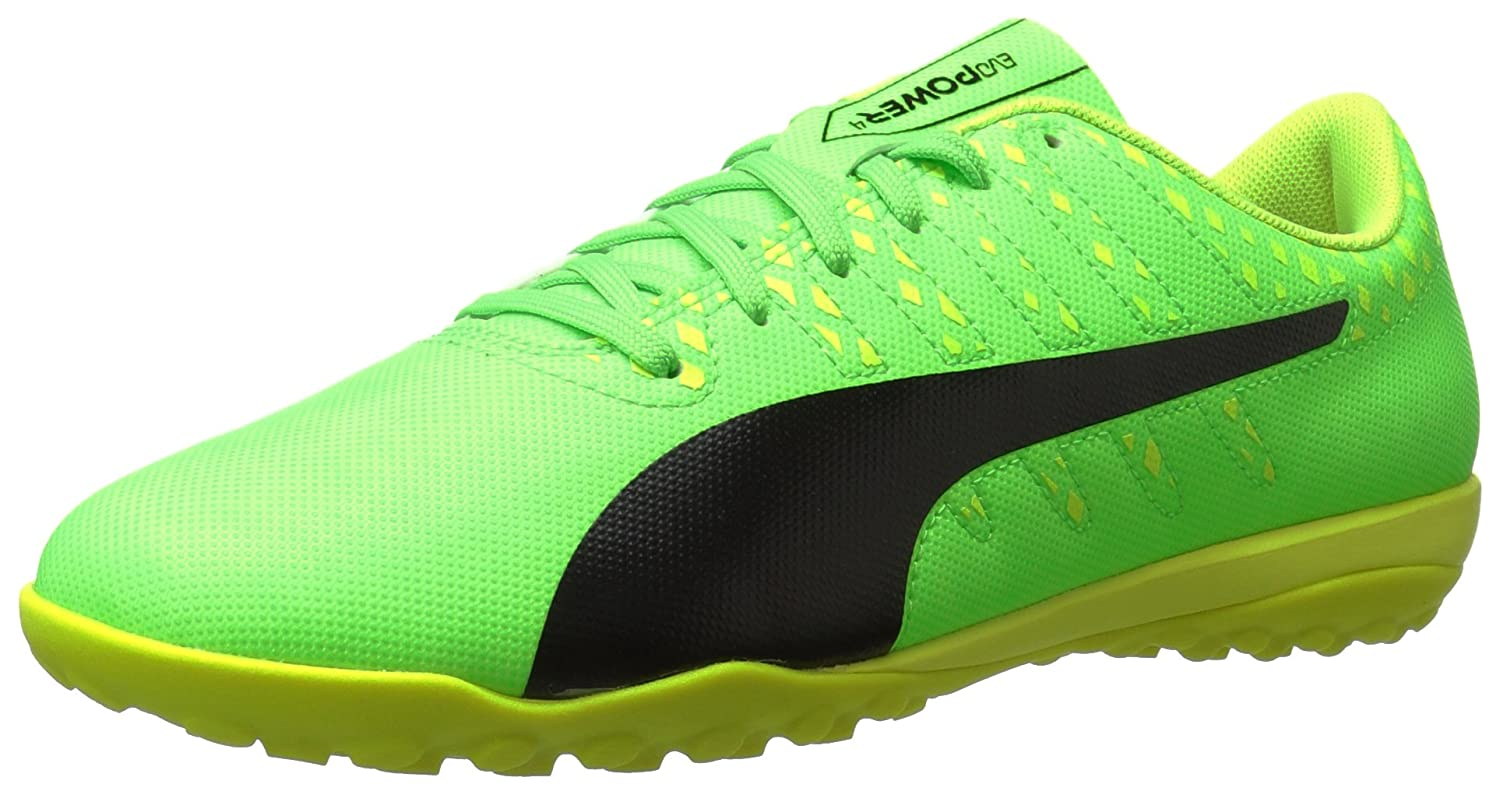 PUMA Men's Evopower Vigor 4 TT Soccer Schuhe, Grün Gecko schwarz-Safety Yellow, 5.5 M US