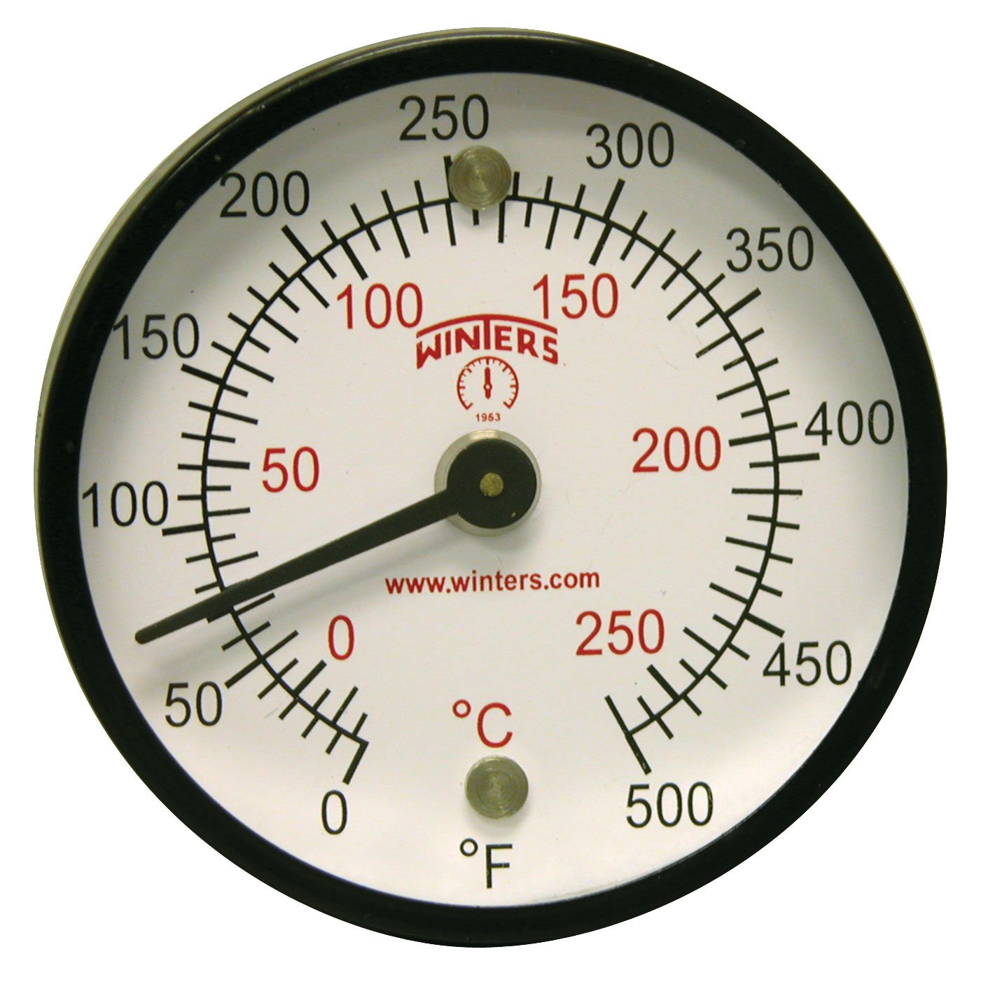 Winters TMT Series Steel Dual scale Surface Magnet Thermometer, 2' Dial Display, +/-2% Accuracy, 0-500 F/C Range 2 Dial Display TMT7410
