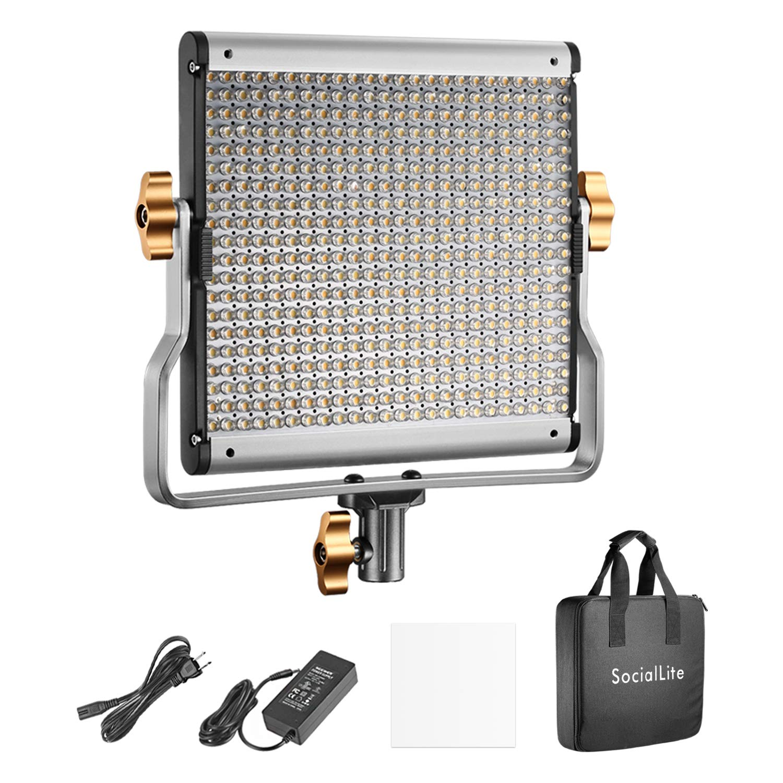 SocialLite Dimmable Bi-Color LED Video Light 480 LEDs 3200K-5600K CRI 96+ with Soft Filter U-Bracket and Carry Bag, Metal Shell for Photography LED Lighting Studio Video Shooting by SocialLite