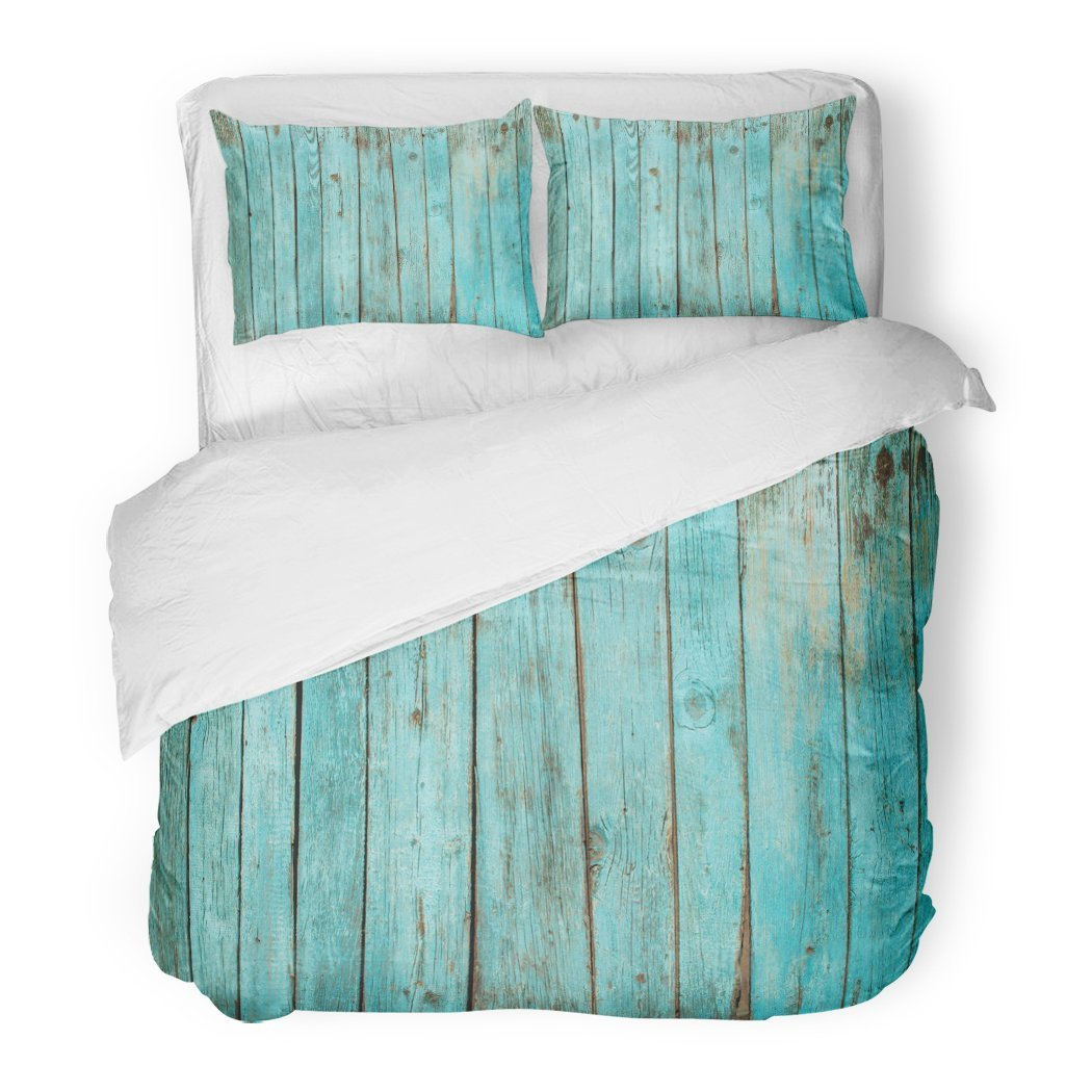SanChic Duvet Cover Set Teal Beach Shabby Wood Blue Board Color Wooden Weathered Fence Decorative Bedding Set 2 Pillow Shams King Size