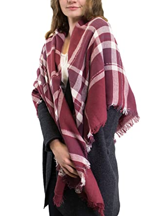 New Womens Sparkly Blanket Wrap Scarf Ladies Large Tartan Wrap Stole Wool Tassel