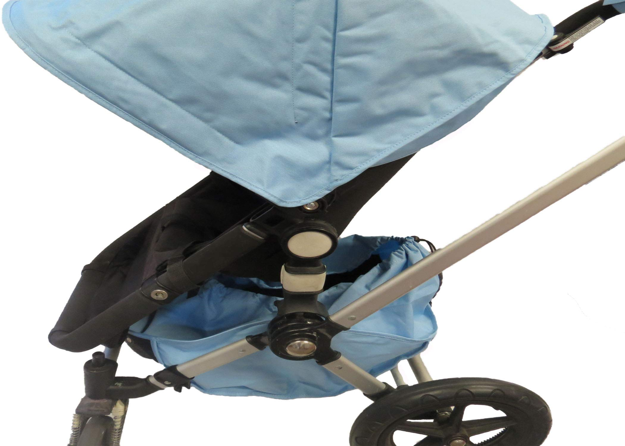 Light Blue Sun Shade Canopy and Large Under Seat Storage Basket Plus Free Handle Bar Covers for Bugaboo Cameleon 1, 2, 3, Frog Baby Child Strollers