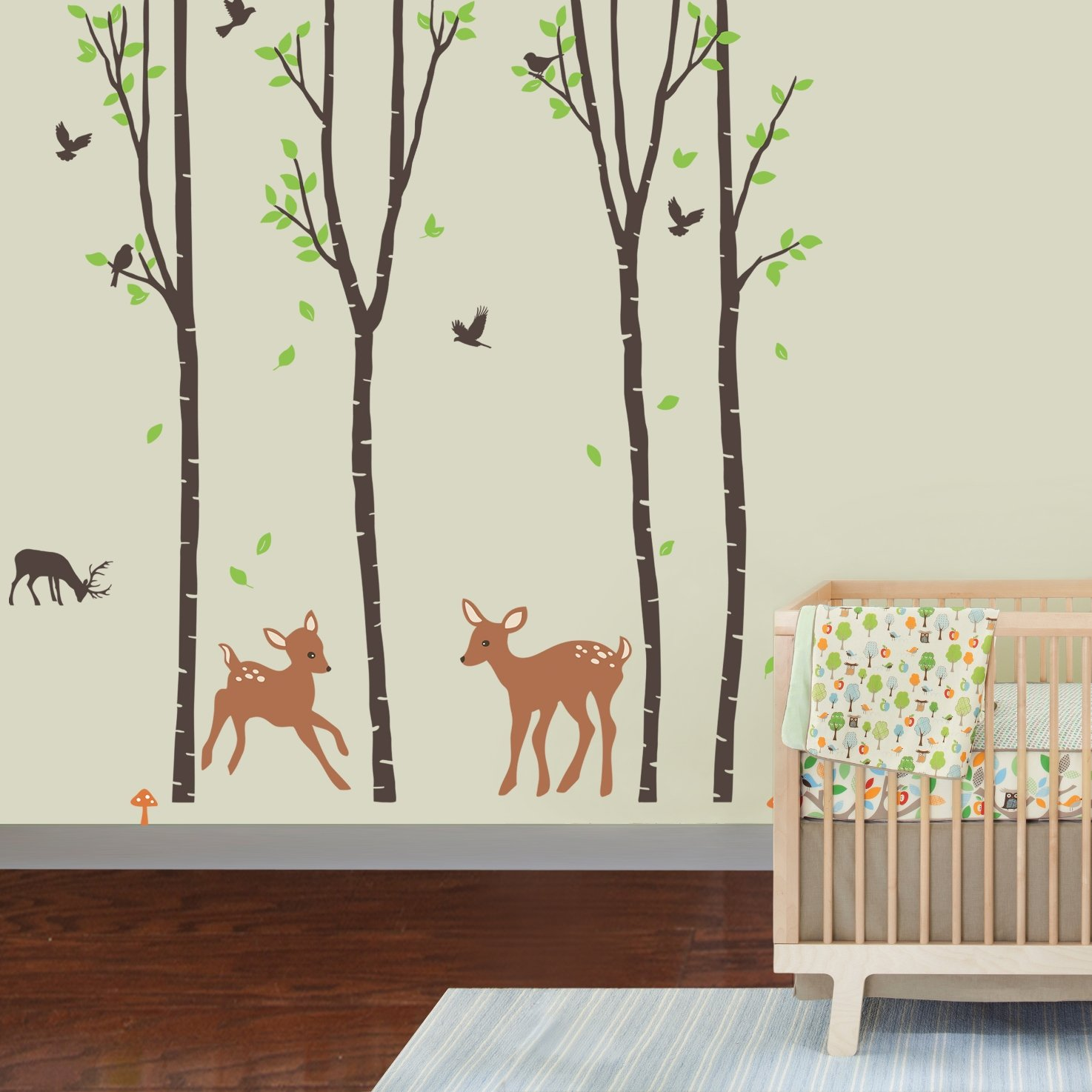Giant Wall Sticker Decals - Birch Tree Forest with Deers and Flying Birds Baby (trees are 6 feet tall)