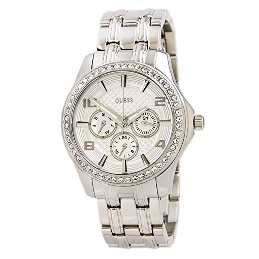 Guess U0147L1 Womens Glamour Silver Dial Steel Bracelet Crystal Watch