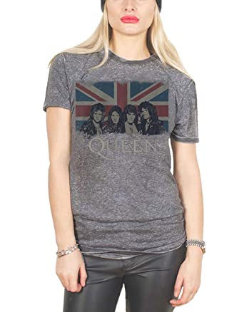 Queen T Shirt Vintage Union Jack Official Womens Grey Skinny