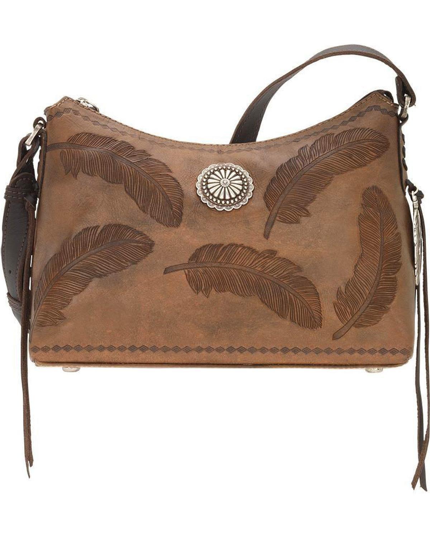 American West Women's Sacred Bird Shoulder Bag Distressed Brown One Size