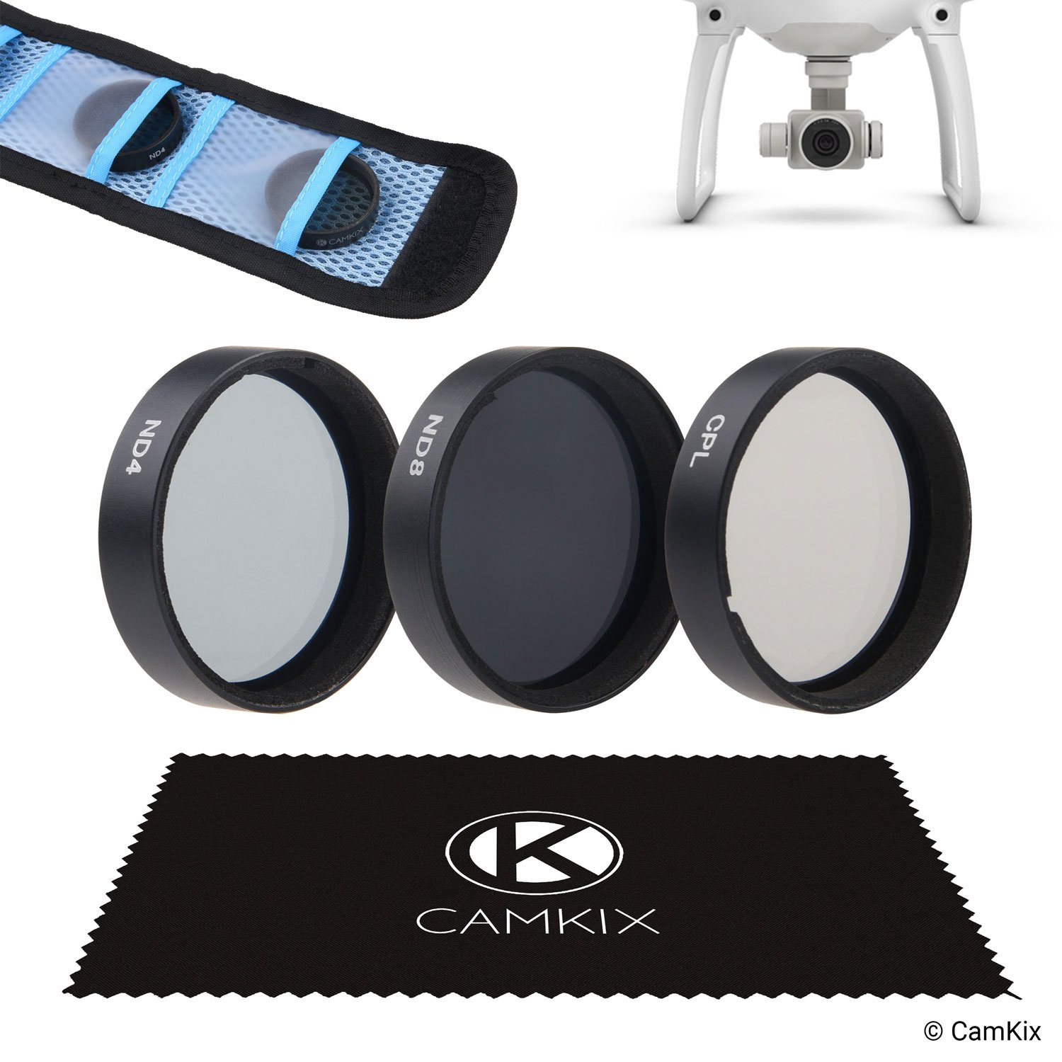 CamKix Filter Pack for DJI Phantom 4 and 3 - Include 2 CamKix Neutral Density Filters (ND4 and ND8), a CamKix Circular Polarizer filter (CPL) and a CamKix cleaning cloth - Filter Storage Bag Included by CamKix