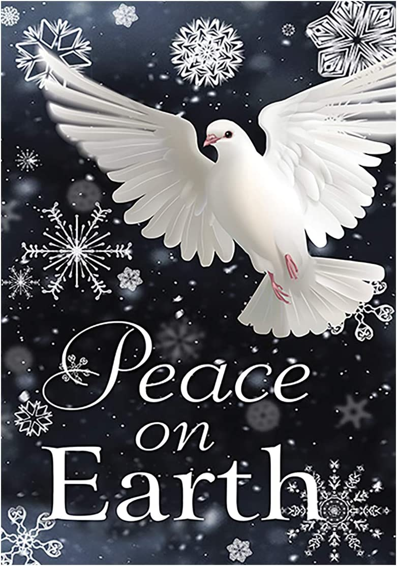 Morigins Peace on Earth Pigeon Decorative Snowflake Winter Garden Flag 12.5 x 18 inch
