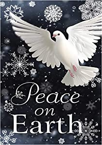 Morigins Peace on Earth Pigeon Decorative Snowflake Winter House Flag 28 x 40 inch