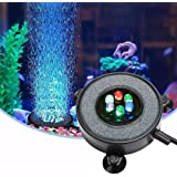 DXCEL LED Aquarium Air Bubble Light Fish Tank Air Curtain Bubble Stone Disk with 6 Color Changing LEDs