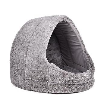 xiaojuan-pets, Corta felpa cubierto gato cama de gato Mascota cueva igloo de perro con extraíble ...