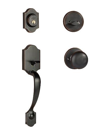 Dynasty Hardware DEN TAH 100 12P Denver Front Door Handleset, Aged,