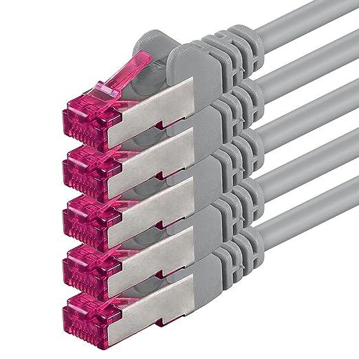 4 opinioni per 0,5m- grigio- 5 pezzi- Rete Cavi Cat6a | S-FTP | CAT 6a | doppia schermatura-