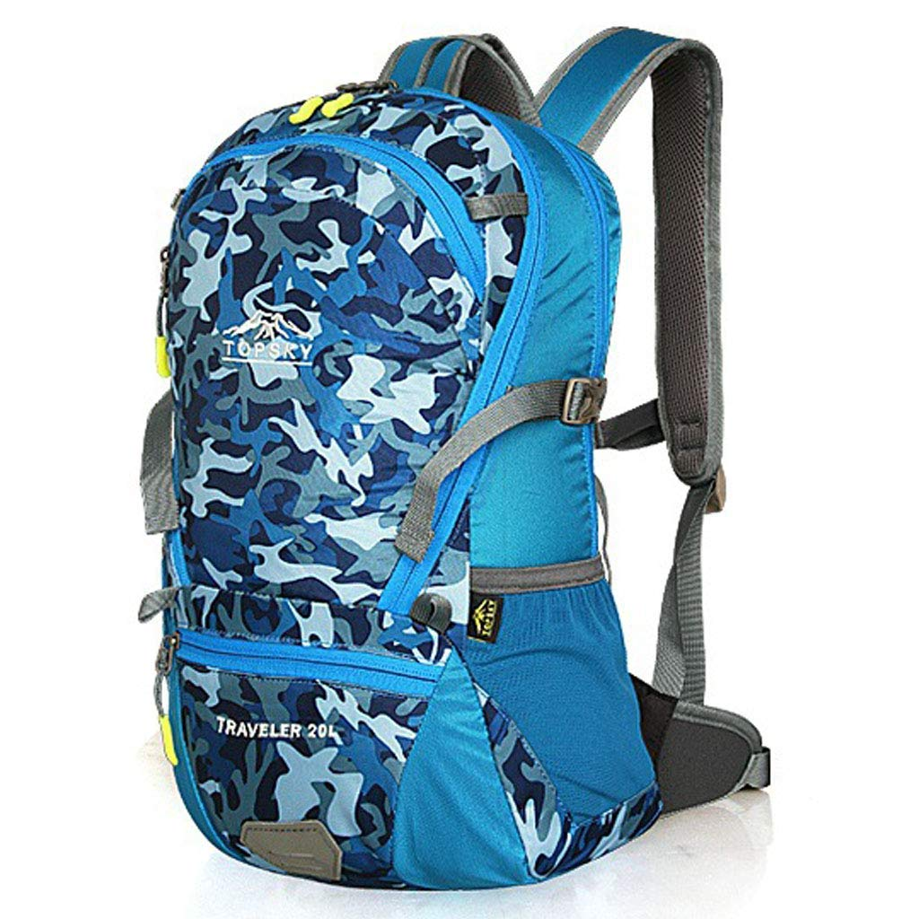 ハイキングバックパックアウトドアハイキングショルダーファッションスポーツバッグユニセックスプロのアウトドアスポーツ乗馬バックパック20L B07T66M39L Blue
