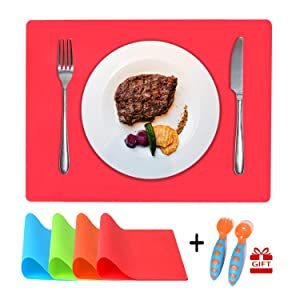 Silicone Toddler Placemats for Dining Table (16 x 12 Inches), Multi Color Kids Silicone Placemats Reusable, Plus Spoon & Fork, Non Slip, Waterproof, Easy to Clean, Set of 4