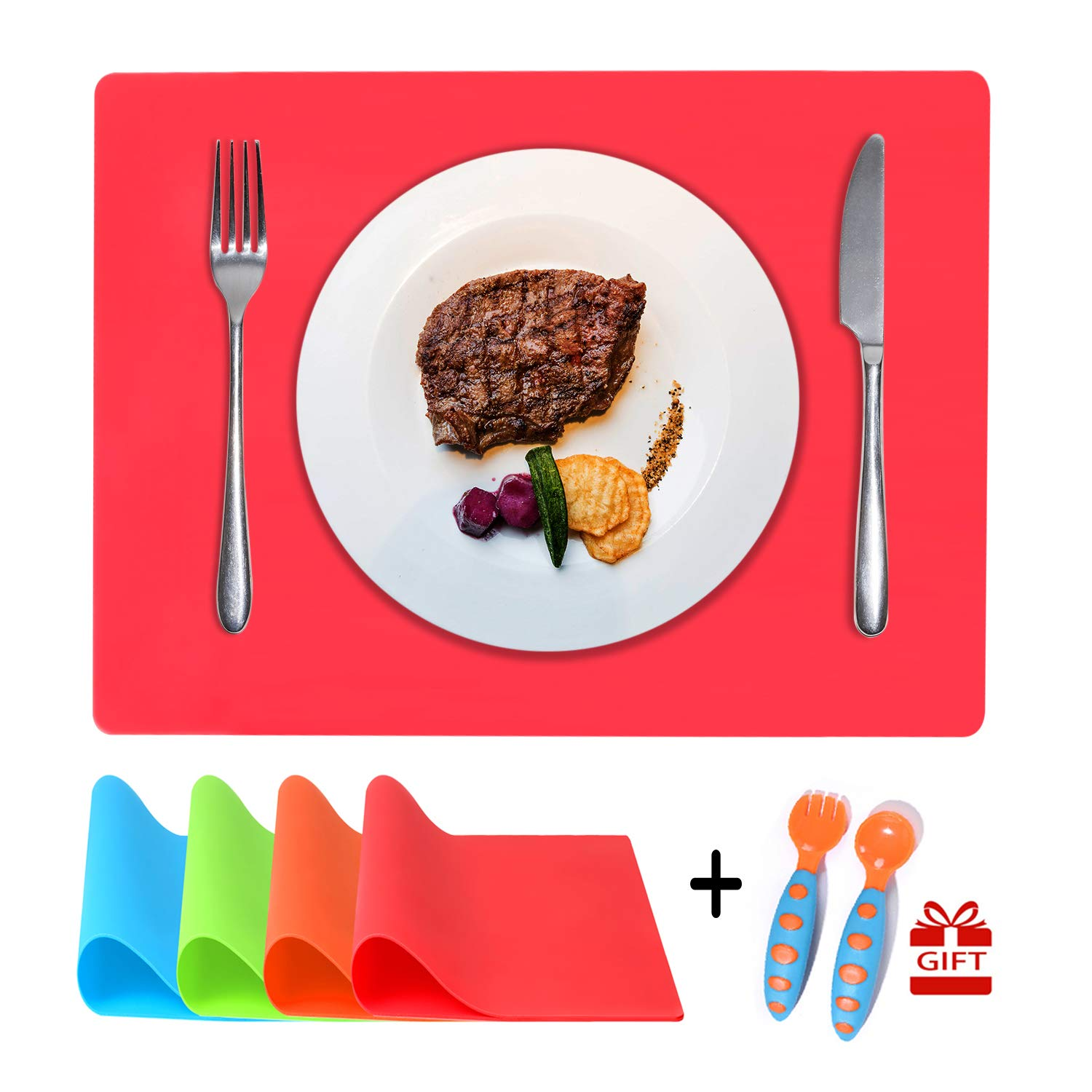 Multi Color Kids Placemats, Childrens Placemats Bonus Spoon & Fork (16 x 12 Inches), Dining Table Mat for Babies Toddlers and Kids, Non Slip, Waterproof, Easy to Clean, Set of 4
