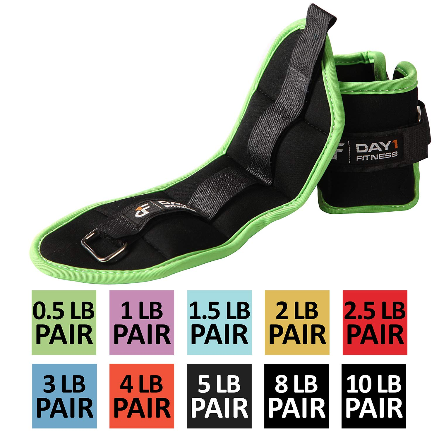 Ankle / Wrist Weight Pair by Day 1 Fitness- 10 Weight and Bundle Options – 0.5 to 10 lbs EACH, Set of 2, Adjustable…