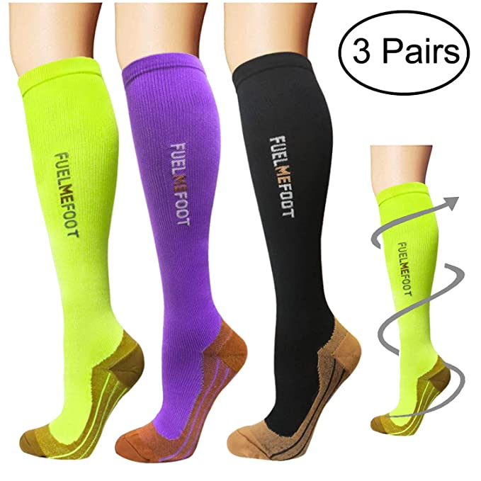 080f0ce468 Amazon.com: Compression Socks (3 Pairs)15-20 mmHg is Best Graduated  Athletic & Medical for Men & Women, Running, Flight, Travels: Clothing