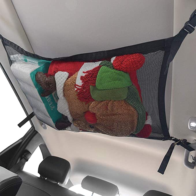 Onlyonehere Car Ceiling Storage Net Pocket-Universal Car Roof Interior Cargo Net Bag with Zipper,Car Trunk Storage Organizer Sundries Storage Bag for Jeep Van SUV