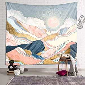 fangzhuo Pink Mountain Tapestry for Bedroom Sun Wall Tapestry Nature Tapestry Indie Room Decor for Livingroom Dorm Home W59 x L51