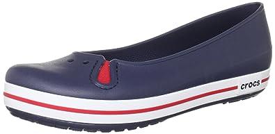 a1881ea591ba3d crocs Women's Crocband Flat Navy Rubber Ballet Flats - W4: Buy ...