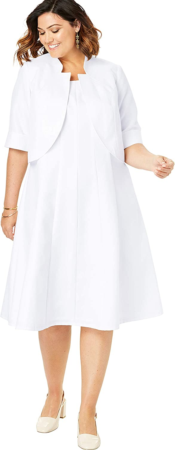 Roamans Womens Plus Size Fit-and-Flare Jacket Dress