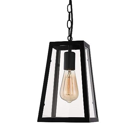 BAYCHEER Farol Retro Vintage lámpara colgante techo la Industria araña lámpara de techo Casquillo E27 Regulable con Cristal para salón comedor ...