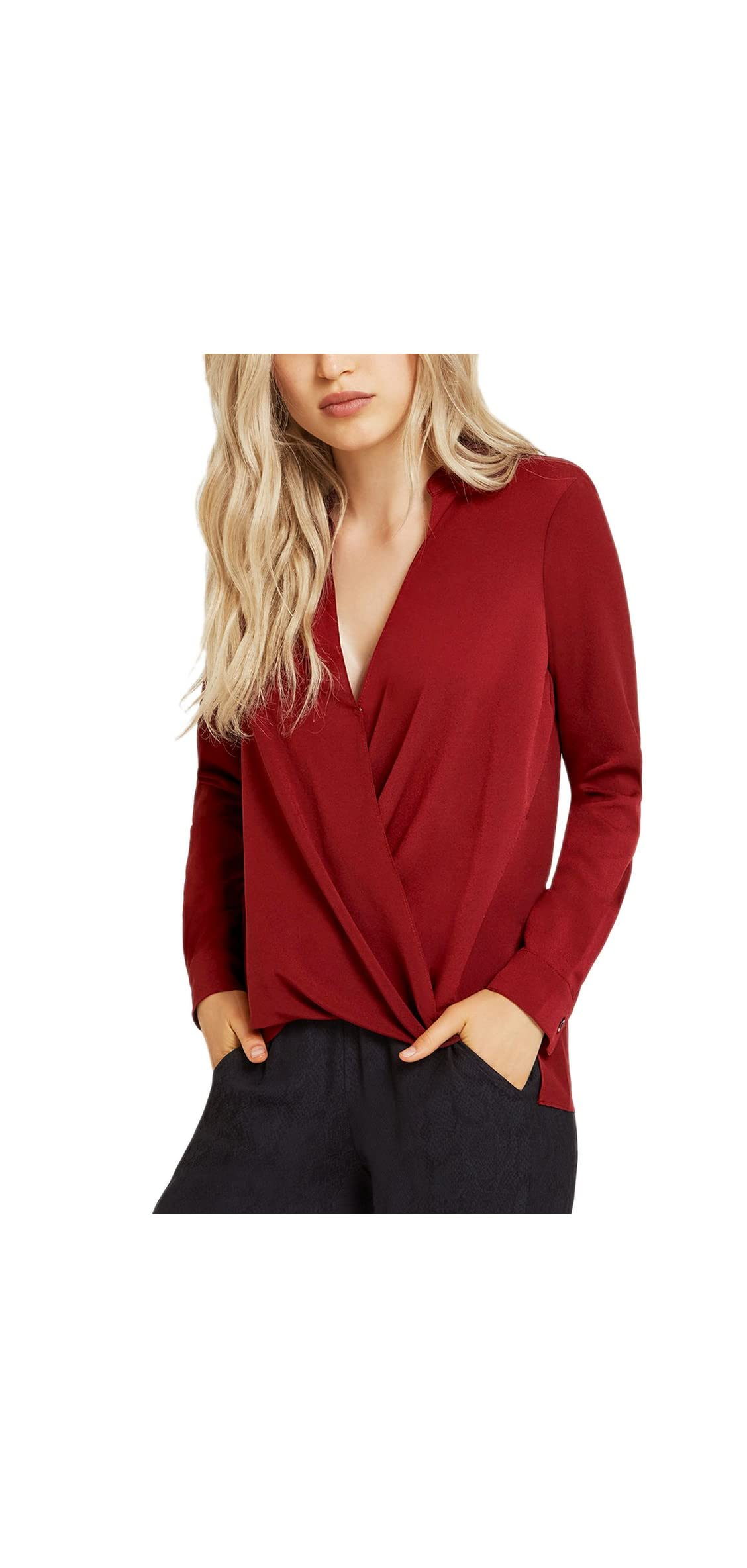 Women's Casual V Neck Chiffon Blouses Long Sleeves Loose