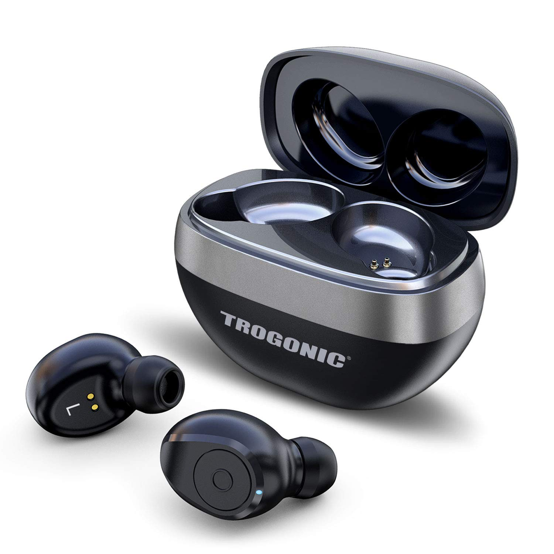 Trogonic TE1 True Wireless Earbuds, TWS 5.0 IPX 5 Sweatproof Bluetooth Earbuds Stereo Headphones in-Ear Built-in Mic Headset Premium Sound with Deep Bass for Sport