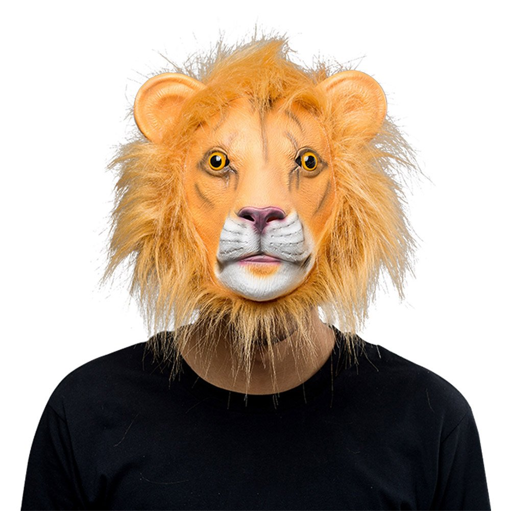 COSMOVIE Lion Head Mask Halloween Costume Party Decorations Funny Latex Rubber Animal Head Mask