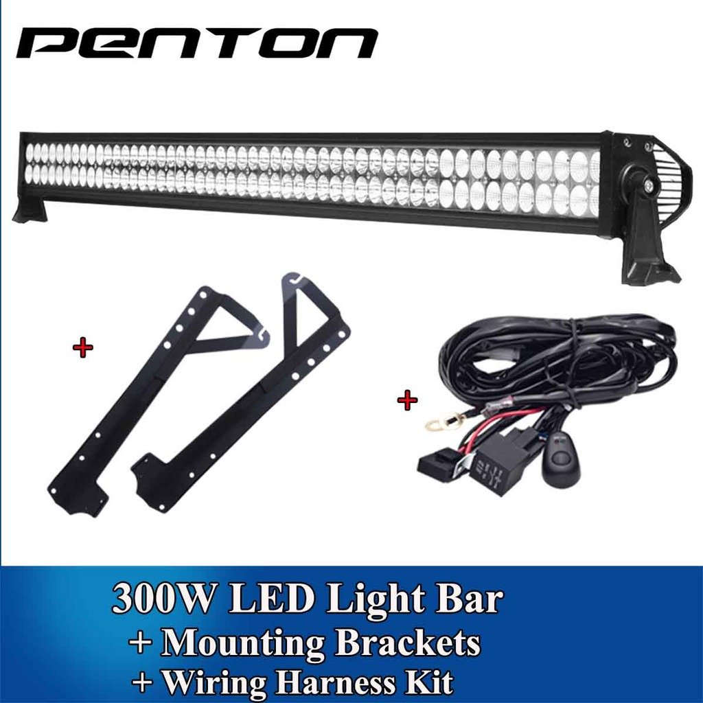"Amazon.com: Penton 52"" 300W LED Light Bar Spot Flood COMBO Beam + Mounting  Bracket For Jeep JK Wrangler+ Wiring Kit: Automotive"